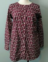 Duluth Trading Company Womens Sz S Smock Top Button Up Burgundy Floral Print EUC