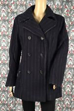 Utex Design Women's Navy Blue Striped Wool Blend Double Breasted Peacoat Size 10