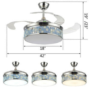 "42"" Chandelier Lamp LED Ceiling Fan Light + Remote Control Reverse Airflow"