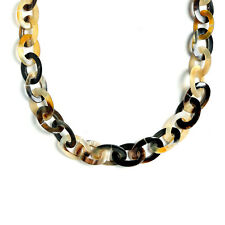Earth Tone Brown Handmade Buffalo Horn Oval Link Chain Necklace 19 Inches