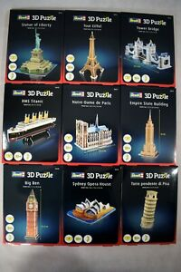 Revell 3D Puzzle Jigsaws Titanic, Eiffel Tower, Big Ben, Sydney Opera, and more