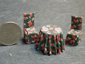 Dollhouse Miniature Kitchen Table Chairs Christmas 1:48 scale D21 Dollys Gallery