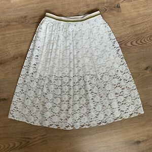 Zara Girls Skirt Age 11 - 12 Years White Lace Midi A-Line Elastic Waist Summer