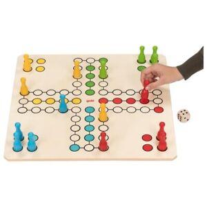Holzspiel Riesen 4er Ludo 50x50cm Goki für Jung und Alt Brettspiel 4+ G56793 GER