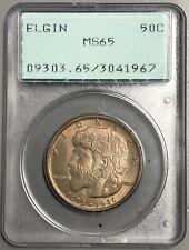 1936 Elgin Commemorative Half Dollar 50C, PCGS MS65. Rattler OGH. Toned
