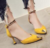Fashion Women's Pointed Toe Ankle Strap Pumps Stilettos High Heels Party Shoes