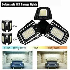 E27 60W/80W Deformable LED Garage Lights Bulb Fixture Ceiling Workshop Lamps New