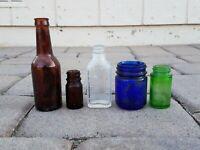 Dug Relics Old Medicine Bottles Amber, Clear, Emerald Green Cobalt Colorful Lot