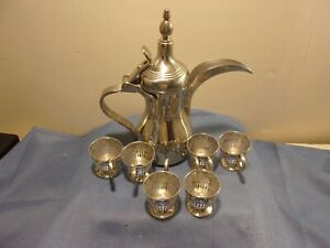 Set of 6 Silver Plated Cup Holders & 1 Stainless Steel Turkish/Arabic Coffee Pot