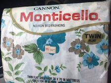Vtg NIP Cannon Monticello Blue Flower Summer Day Fabric Twin Flat Sheet 70s