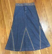 Women Denim Maxi Skirt 10 Embroidered Cotton Dark Blue Long Boho Holiday Retro