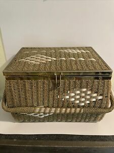 Vintage  Wicker Sewing Basket Made Exclusively For J.C. Penney Made N Japan Nice