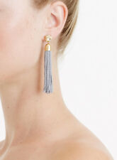 J Crew Beaded Tassel Earrings in Grey