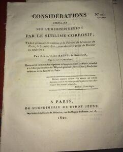 MÉDECINE. EMPOISONNEMENT PAR LE SUBLIMÉ CORROSIF, 1820 .