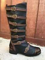 Black Steampunk Engineer Pirate Ship Captain Combat Costume Boots Mens size 9 10