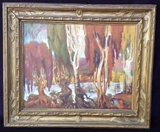 Vintage Landscape Painting Signed Stancikaite? Unusual People Trees Great Frame