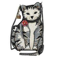 MARY FRANCES 9 Lives Beaded Cat Crossbody Handbag, Multi