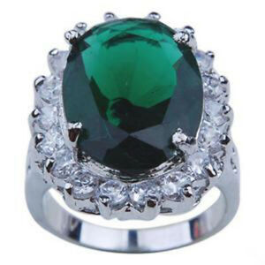 Green Cubic Zirconia White Gold Plated Crystal Flower Women Ring Size: 7.8.9