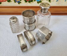 More details for mixed antique hallmarked sterling silver napkin rings bottle chester not scrap