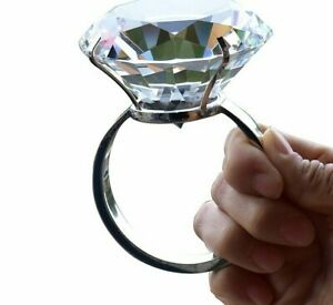 Crystal Large Diamond Ring Romantic Proposal Marriage Props Wedding Decoration