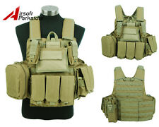 Tactical Molle Plate Carrier Combat Vest w/ Magazine Pouch Military Hunting Tan