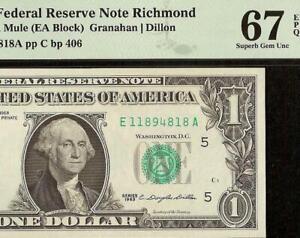 SUPERB GEM 1963 $1 DOLLAR BILL MULE FEDERAL RESERVE NOTE Fr 1900-Em PMG 67 EPQ