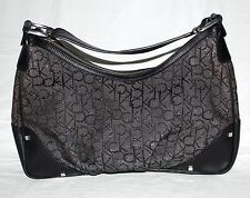 Calvin Klein Signature Logo Black w/ Silver Fabric & Faux Leather Hobo Bag NWOT