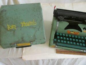Vintage Tom Thumb Typewriter In Case Green Metal