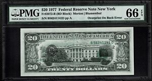 1977 $20 Dollars New York Federal Reserve RARE Note Supper Error Back PMG66