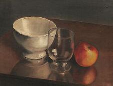 Tableau art moderne nature morte bol verre pome fruit cubisme huile bois 20ème