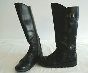 FLY Ladies Black Boots Size 39 UK 6.5 #G3