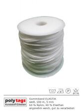 Gummiband ELASTIK, weiß, 100 m Rolle, 5 mm, sehr weich, für Alltagsmasken