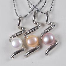 3Pcs 8-9mm white Pink Purple Akoya Cultured Pearl Pendant Necklace AAA Grade