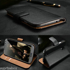 GENUINE REAL LEATHER WALLET STAND CASE FOR SAMSUNG GALAXY S2 S3 & S3 MINI