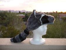 RACCOON mask HAT halloween COSTUME plush ADULT daniel boone cap badger racoon
