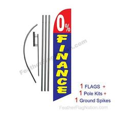 Zero 0% Percent Finance 15' Feather Banner Swooper Flag Kit with pole+spike