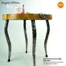 Designer Solid Hardwood Stainless Steel Live Edge Side Table Furniture