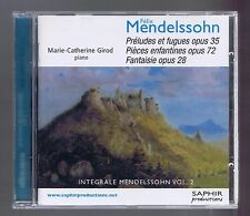 MENDELSSOHN CD PRELUDES FUGUES PIECES ENFANTINES FANTAISIES MC GIROD