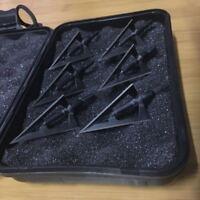 6 Pcs Broadhead Archery Shooting Screw tip 3 Blade Hunting Black Box