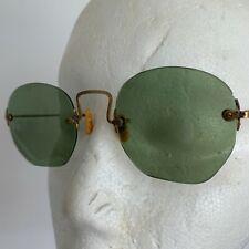 Vintage - Frameless Hexagon Wire Sun Eyeglasses with Original Metal Black Case