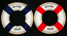 """Welcome Aboard (2) Mini White Cloth Covered 6"""" Nautical Life Ring Sets"""