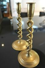 Antique Edwardian Brass Barley Twist Candlesticks