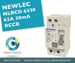 NEWLEC NLRCD6330 63A 30mA RCCB DP 63 AMP 10000 EARLY STYLE RCD BSEN 601008 RCCD