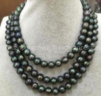 Long 50'' Natural 9-10mm Peacock Black Tahitian Baroque Pearl Necklace AA