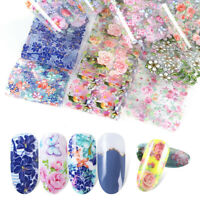 10PCS Nail Art Sticker Water Decals Transfer Stickers Holographic Foil Flowers