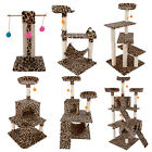 "Leopard Print Cat Tree Condo Furniture Scratching Post Pet House Toy 20""-72"""