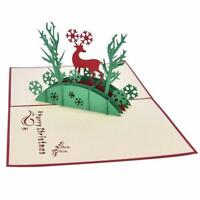 3D Merry Christmas greeting card Deer and tree Xmas Holiday Family Gift Cards