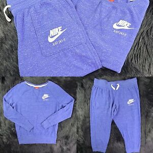 Nike womens PullOver sweat Suit Set 2 Piece Bottom Crop(L) Top(M) SHIPPED PROMPT
