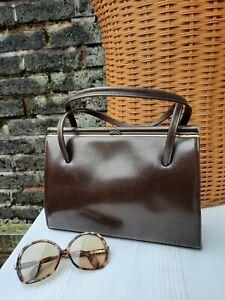 Vtg Original 60s 70s Adrian Gold London Brown Genuine Leather Grab Kelly Bag.