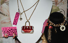 3 PC BETSEY JOHNSON RED CRYSTAL HANDBAG NECKLACE RED MISMATCH EARRINGS & CH BRAC